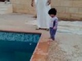 Arab Family Teach Their Child To Swim-Graphic