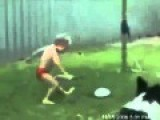 Little Boy Unable To Kick The Ball