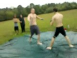 Crazy Kick Knocks Bigger Guy Out Cold