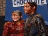 Apolo Anton Ohno & Shawn Johnson Battle In Chocolate Mud Fight