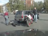 I Love How The Dude In The Car Gets All Angry, Tries To Start A Fight, Then Gets Knocked Out Cold