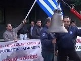 Greek Police And Firemen Stage Funeral-Like Protest March