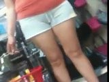 Latina Cameltoe In Lil Grey Shorts