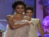 Sexy Natasha Suri Walks On Ramp In White Revealing Frock At Swarovski Gems Fashion Show