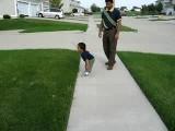 Tinu Walking With His Dad