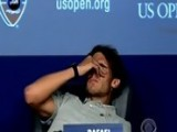 Rafael Nadal Slides Off Chair At U.S. Open Presser